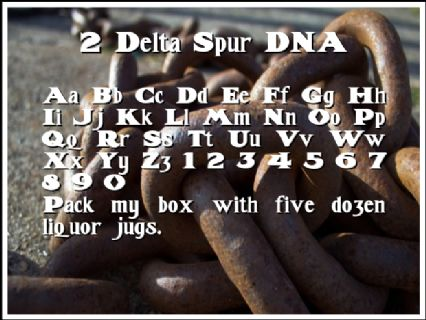 2 Delta Spur DNA Font Preview