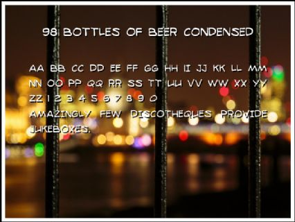 98 Bottles of Beer Condensed Font Preview
