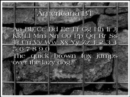Americana BT Font Preview