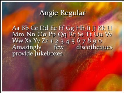 Angie Regular Font Preview