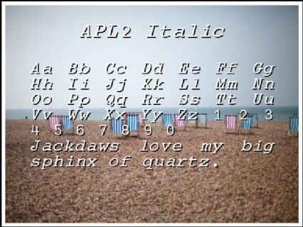 APL2 Italic Font Preview