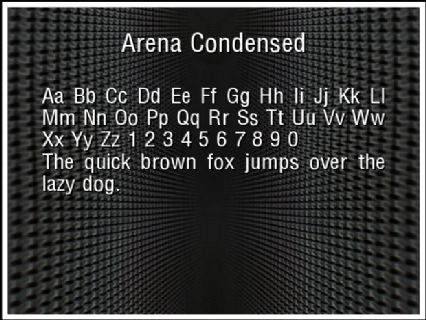 Arena Condensed Font Preview