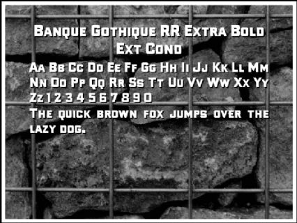 Banque Gothique RR Extra Bold Ext Cond Font Preview