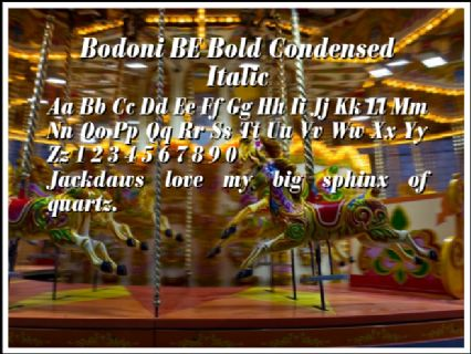 Bodoni BE Bold Condensed Italic Font Preview