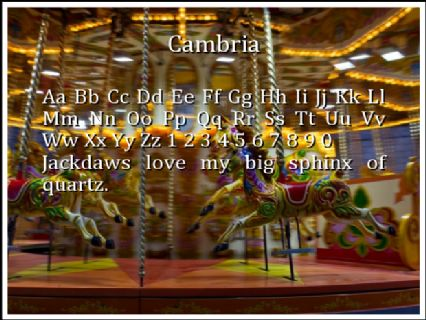 Cambria Font Preview