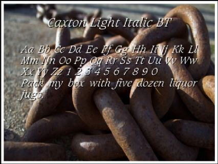 Caxton Light Italic BT Font Preview