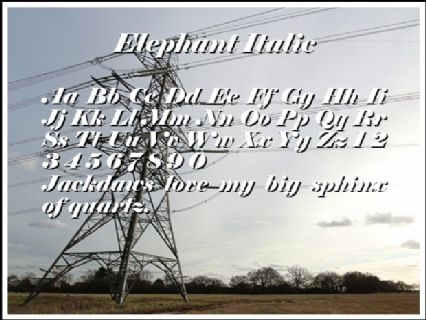 Elephant Italic Font Preview
