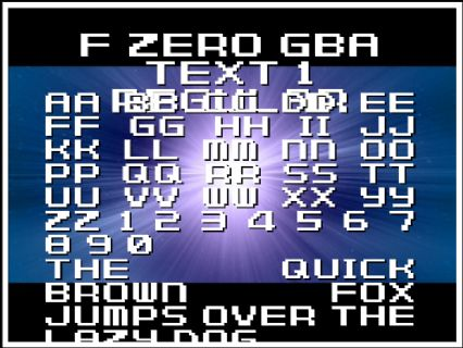 F Zero GBA Text 1 Regular Font Preview