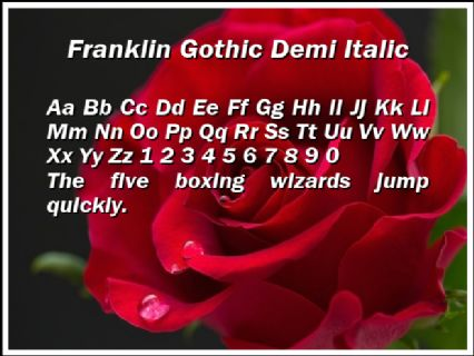 Franklin Gothic Demi Italic Font Preview