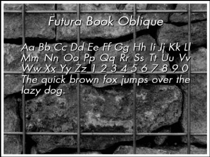 Futura Book Oblique Font Preview