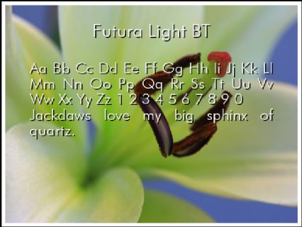 Futura Light BT Font Preview