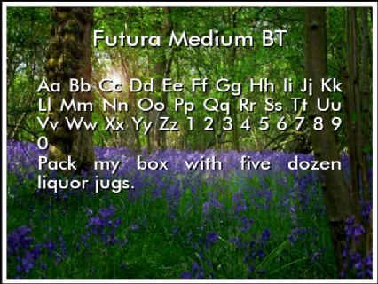 Futura Medium BT Font Preview
