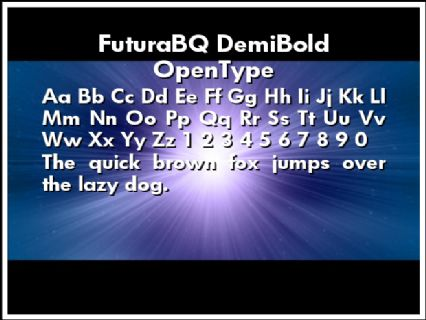 FuturaBQ DemiBold OpenType Font Preview