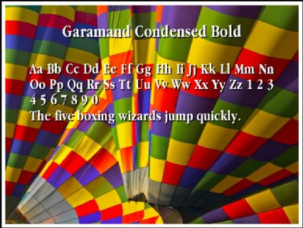 Garamand Condensed Bold Font Preview