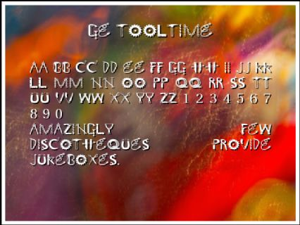 GE Tooltime Font Preview