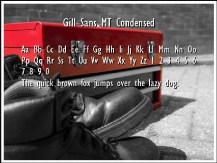 Gill Sans MT Condensed Font Preview
