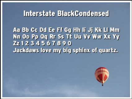 Interstate BlackCondensed Font Preview