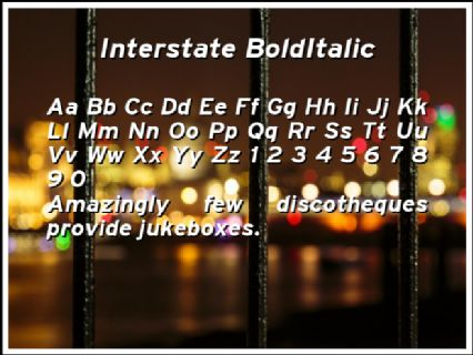 Interstate BoldItalic Font Preview