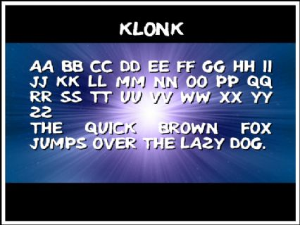 Klonk Font Preview