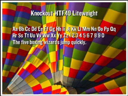 Knockout HTF49 Liteweight Font Preview