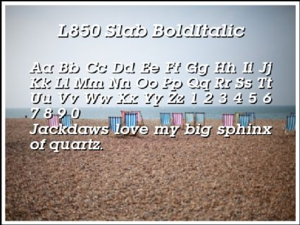 L850 Slab BoldItalic Font Preview