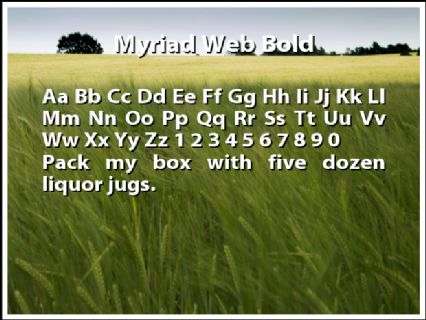Myriad Web Bold Font Preview