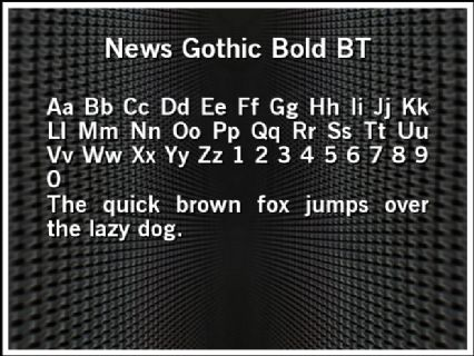 News Gothic Bold BT Font Preview