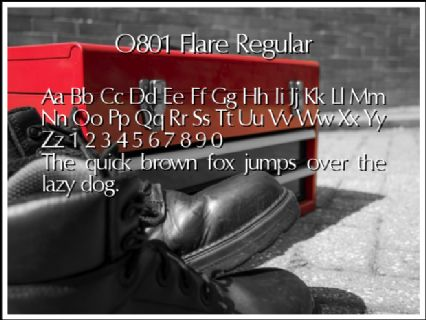 O801 Flare Regular Font Preview