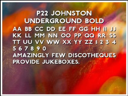 P22 Johnston Underground Bold Font Preview