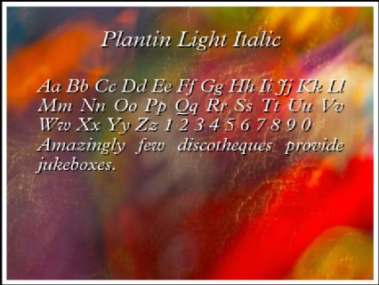 Plantin Light Italic Font Preview