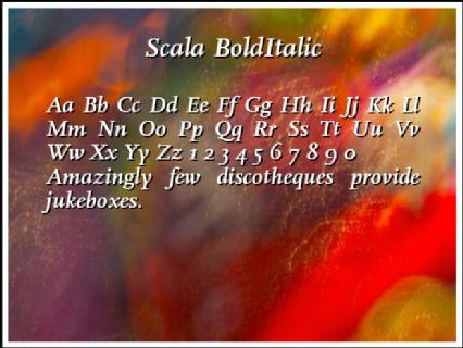 Scala BoldItalic Font Preview