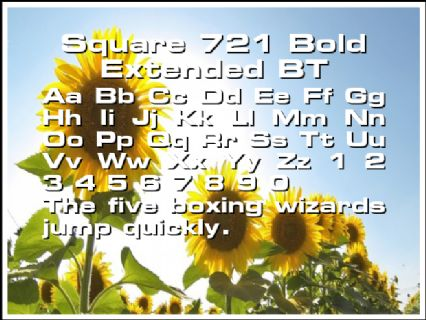Square 721 Bold Extended BT Font Preview