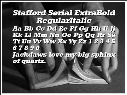 Stafford Serial ExtraBold RegularItalic Font Preview