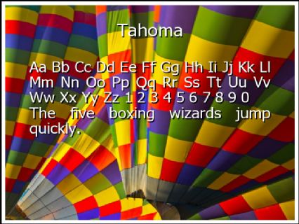 Tahoma Font Preview