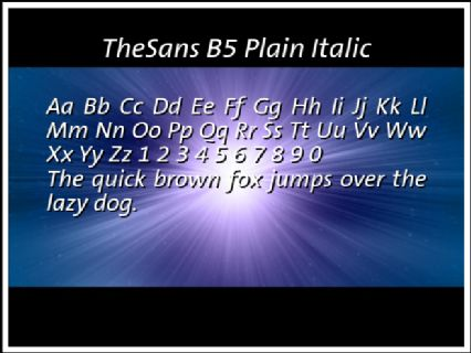 TheSans B5 Plain Italic Font Preview