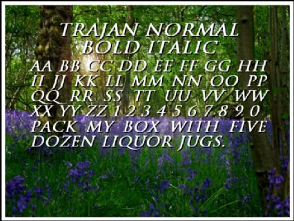 Trajan Normal Bold Italic Font Preview