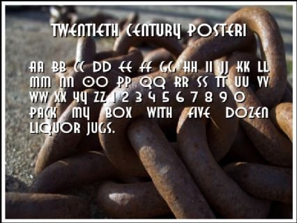 Twentieth Century Poster1 Font Preview