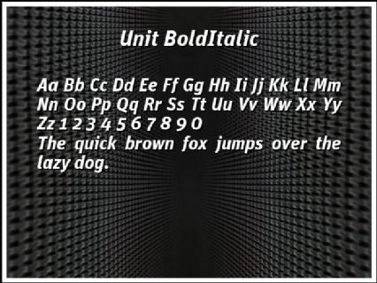 Unit BoldItalic Font Preview