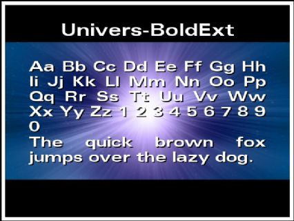 Univers-BoldExt Font Preview