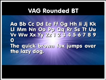 VAG Rounded BT Font Preview