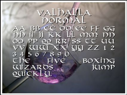 Valhalla Normal Font Preview