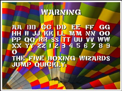 WARNING Font Preview