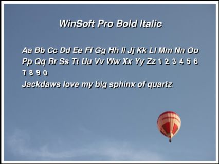WinSoft Pro Bold Italic Font Preview