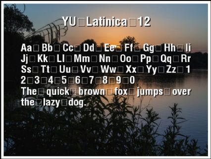 YU Latinica 12 Font Preview