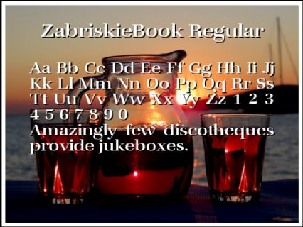 ZabriskieBook Regular Font Preview